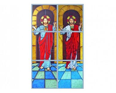 Vitral na técnica do mosaico e do chumbo-estanhado com pintura de forno. Showroom D'falco.